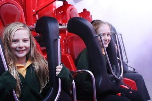 Children learn about gravity via a 25m drop on Magma during their school trip to Paultons Park