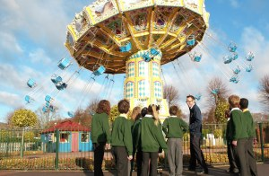 School children learn about the forces of Sky Swinger at Paultons Park