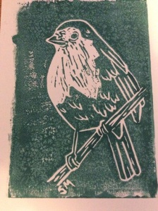 Illustration: Winter robin (lino print based on outdoor sketches)
